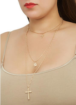 Layered Charm Necklace with Hoop Earrings - 1123074144544