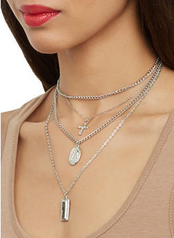 Cross and Pendant Charm Necklace with Stud Earrings - 1123074144549