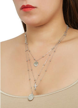 Layered Charm Necklace and Stud Earrings Set - 1123074144630