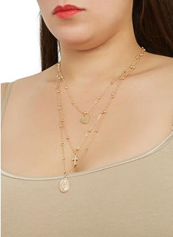Layered Cross Charm Necklace and Stud Earrings Set - 1123074144630