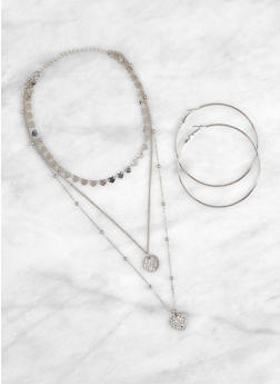 Heart Layered Necklace with Hoop Earrings - 1123074144639