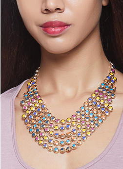 Layered Metallic Bib Necklace with Earrings - 1123074145111