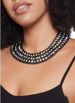 Rhinestone Chain Collar Necklace - 1123074146009