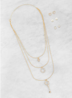 Layered Charm Necklace with Stud Earring Trio - 1123074171138