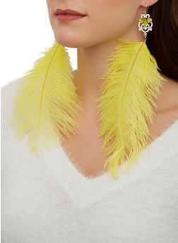 Large Rhinestone Feather Earrings - 1123074173121