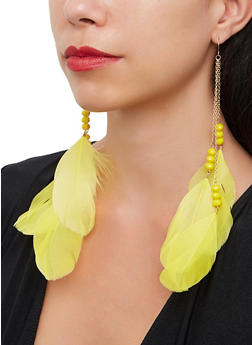 Large Feather Beaded Drop Earrings - 1123074175453