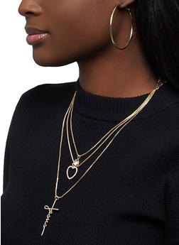 Layered Jesus Necklace with Hoop Earrings - 1123074374105