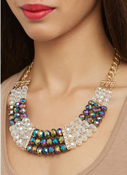 Multi Row Beaded Necklace with Drop Earrings - 1123074750906