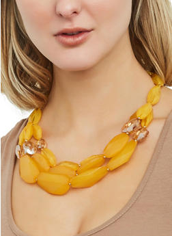 Large Beaded Necklace with Earrings - 1123074751068