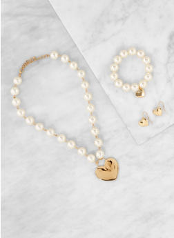 Faux Pearl Charm Necklace with Bracelet and Earrings - 1123074751155