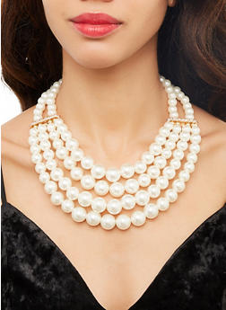 Layered Faux Pearl Necklace and Earrings - 1123074752906