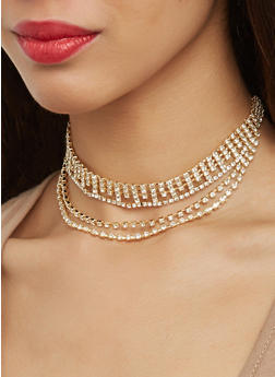 Layered Rhinestone Choker with Stud Earrings - 1123074755222