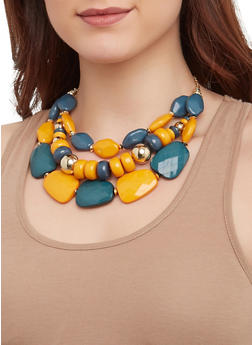 Layered Bead Necklace with Drop Earrings - 1123074756133