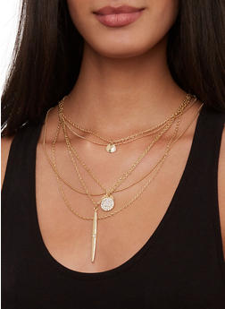 Layered Rhinestone Charm Necklace - 1123074756811