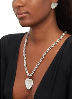 Pave Heart Necklace and Earrings Set - 1123074973026