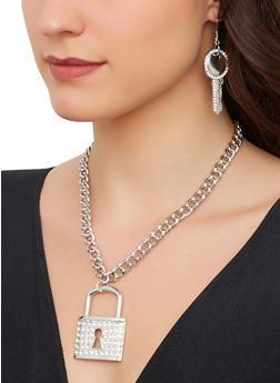 Lock Chain Necklace with Key Drop Earrings - 1123074974087
