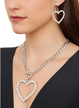 Rhinestone Heart Curb Chain Necklace with Drop Earrings - 1123074974088