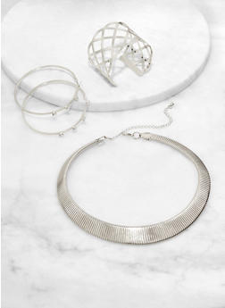 Metallic Collar Necklace with Cuff Bracelet and Rhinestone Hoop Earrings - 1123074974090