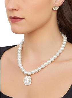Faux Pearl Necklace with Stretch Bracelet and Earrings - 1123074974096