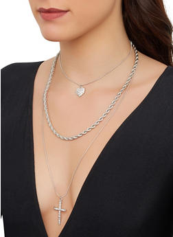 Layered Cross Chain Necklace with Stud Earrings - 1123074974097