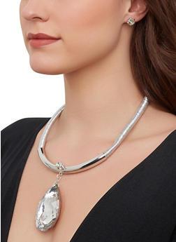 Rhinestone Teardrop Coil Necklace with Earrings - 1123074980514