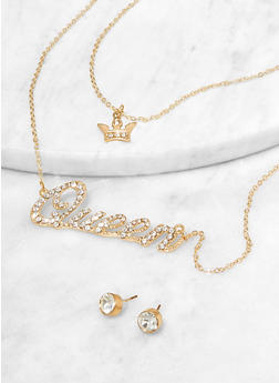 Queen Rhinestone Necklace and Stud Earrings - 1123074981141