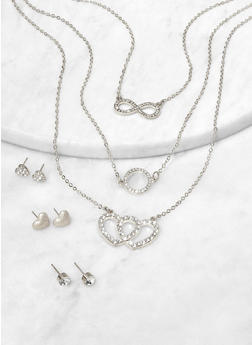 Rhinestone Infinity Charm Necklace and Stud Earrings - 1123074981904