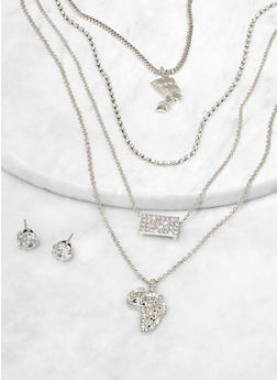 Africa Charm Layered Necklace with Stud Earrings - 1123074981905