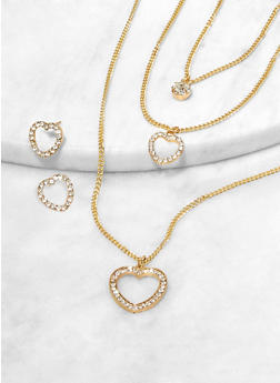 Rhinestone Heart Layered Charm Necklace and Stud Earrings - 1123074981908