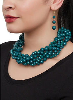 Twisted Bead Necklace with Drop Earrings - 1123074981915