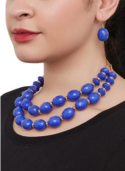 Layered Beaded Necklace with Stretch Bracelets and Earrings - 1123074981916