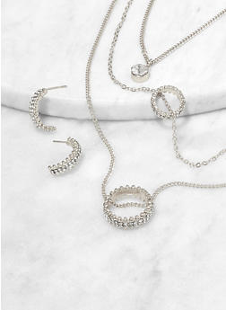 Rhinestone Ring Layered Necklace with Earrings - 1123074981921