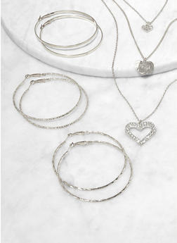 Rhinestone Heart Necklace with Hoop Earring Trio - 1123074981930