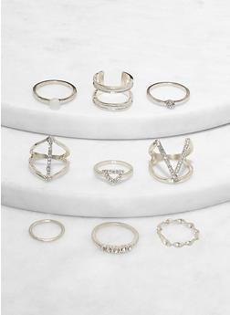 Set of 9 Metallic Rhinestone Detail Rings - 1123074981934