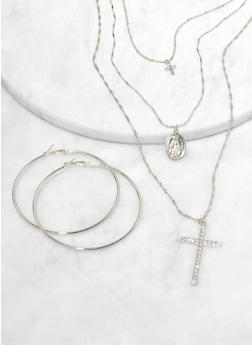 Religious Layered Charm Necklace and Hoop Earrings - 1123074981935