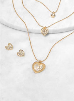 Heart Pendant Layered Necklace with Matching Stud Earrings - 1123074981938