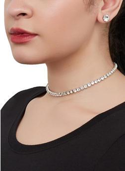 Rhinestone Tennis Choker Necklace with Stud Earrings - 1123074982190