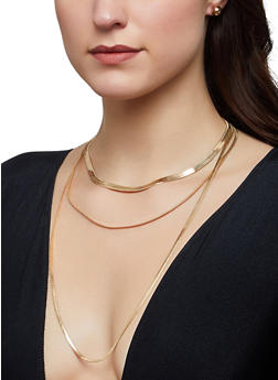 Layered Snake Chain Necklace with Stud Earrings - 1123074987192