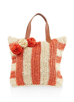 Striped Straw Tote Bag - 1124040320047