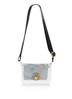 Small Clear Crossbody Bag with Faux Leather Zip Pouch - 1124040320145