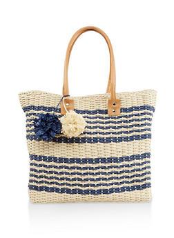 Straw Zip Tote Bag - 1124040320474