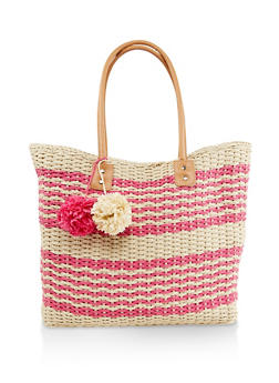 Straw Zip Tote Bag - 1124040320474