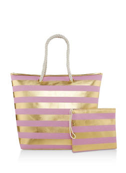 Striped Zip Tote with Pouch - 1124040320513