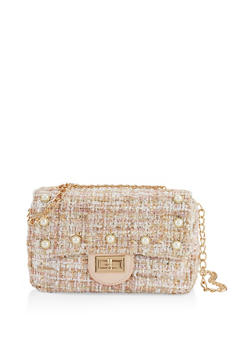 Tweed Faux Pearl Studded Crossbody Bag - 1124040321077