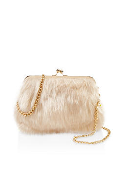 Kiss Lock Faux Fur Crossbody Bag - 1124040322055