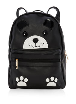Faux Leather Bear Backpack - 1124040324589