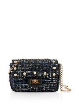 Faux Pearl Tweed Handbag - 1124040327701