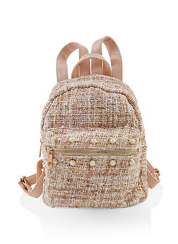 Faux Pearl Studded Tweed Backpack - 1124040327801