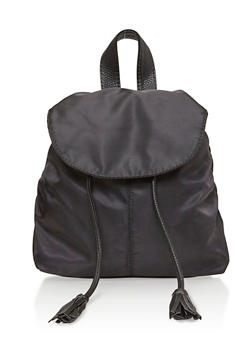 Faux Leather Back Pack with Tassel Drawstring - BLACK - 1124041651749