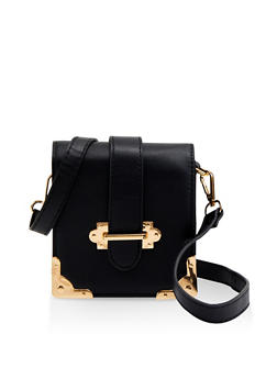 Metallic Corner Square Crossbody Bag - 1124061591150